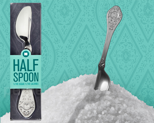 Half the spoon means half the calories, right? Right?!