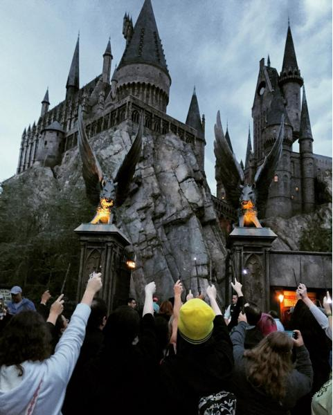 Fans Hold Wands Up in Memory of Alan Rickman at Harry Potter World