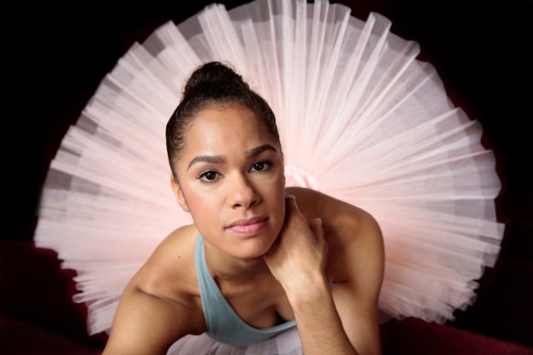 "NEW YORK, NEW YORK--MAY 22, 2014--Prima ballerina Misty Copeland will be a make history as the 1st African-American woman to dance the lead role of Swanilda in the famous ballet Coppelia. She will also be a guest judge on ""So You Think You Can Dance."" Portrait of Copeland taken at Lincoln Center of Mary 22, 2014.  (Carolyn Cole/Los Angeles Times)"