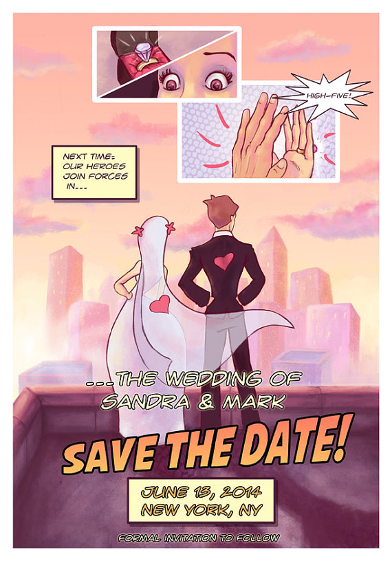 Comic Book Wedding Invite