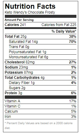 keto frosty nutrition facts